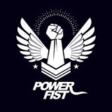 Strong fist of an active sportsman vector symbol created using e. Agle wings and stars. Fighting club abstract emblem Royalty Free Stock Photography