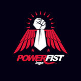 Strong fist of an active sportsman vector symbol created using e. Agle wings and stars. Fighting club abstract emblem Royalty Free Stock Images