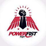 Strong fist of a muscular man vector illustration. Best fighter. Vector symbol, triumph concept Royalty Free Stock Photo