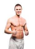Strong, fit and sporty bodybuilder man. Isolated on white Royalty Free Stock Photography