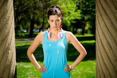 Strong fitness female athlete portrait Royalty Free Stock Photo