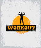 Strong Fitness Gym Workout Motivation Design Elements. Sport Fit Sign Vector On Rough Background.  Royalty Free Stock Images