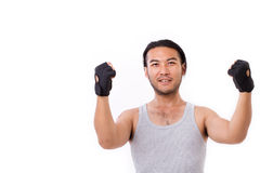 Strong fitness man isolated with text space Royalty Free Stock Photos