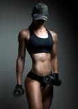 Strong fitness woman bodybuilder stock image