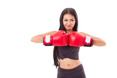 Strong fitness woman boxer or fighter Royalty Free Stock Photography