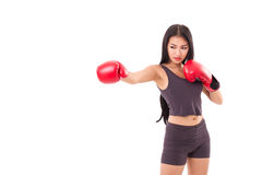 Strong fitness woman boxer or fighter punching Stock Photos