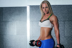 Strong fitness woman holding a pair of dumbbells Stock Images