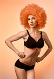 Beauty fashion. Fitness woman athletic body, unusual, afro  Stock Image