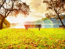 Strong flare defect, bench at mountain lake. Pond bank  tree, Royalty Free Stock Images