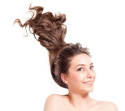 Strong full hair. Royalty Free Stock Images