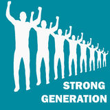 Strong generation with text. People in a row Stock Photos