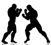 Strong giant silhouettes fighting. Isolated on white Stock Photography