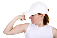 The strong girl in a cap Royalty Free Stock Images