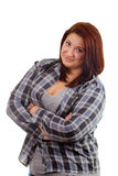 Strong girl dressed in plaid shirt on white Royalty Free Stock Photography
