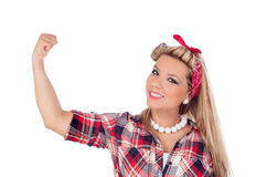 Strong girl in pinup style Stock Photography