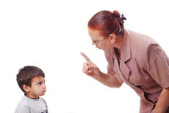 Strong grandmother with her grandson. Strong grandmother is talking hard talk with her grandson and threating with finger Stock Image