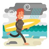 Gritty woman running in beach with surfing board. Strong and gritty woman running in beach with surfboard in rough weather Royalty Free Stock Image