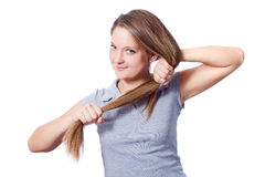 Strong hair. Pretty girl with strong hair - over white background royalty free stock photography
