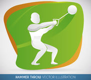 Strong Hammer Throw Athlete Launching Farthest Hammer, Vector Illustration. Athlete swinging in a Hammer thrower competition, ready to launch farthest and make a Royalty Free Stock Photo