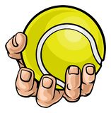 Hand Holding Tennis Ball royalty free illustration