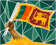 Strong Hand Raising The Flag Of Sri Lanka Stock Images