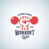 Strong Hand Workout Abstract Vector Emblem, Label or Logo Template with Retro Typography. Dumbbell in a Fist Silhouette Stock Photography