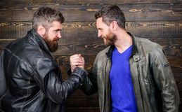 Strong handshake. Friendship of brutal guys. Handshake symbol of successful deal. Approved business deal. Handshake. Gesture meaning. Have agreed. Brutal royalty free stock photography