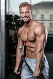 Strong and handsome athletic young man muscles abs and biceps. Strong and handsome athletic young man with muscles abs and biceps. Close-up of a power fitness royalty free stock images