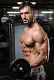 Strong and handsome athletic young man muscles abs and biceps Royalty Free Stock Images