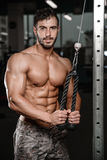 Strong and handsome athletic young man muscles abs and biceps fitness and bodybuilding Royalty Free Stock Photos