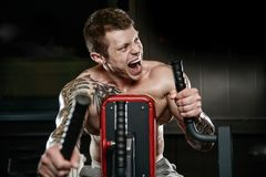 Strong and handsome athletic young tattoo man with muscles stock photo