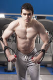 Strong handsome man exercising at the gym Royalty Free Stock Photo