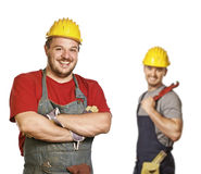 Strong handyman background Stock Photos