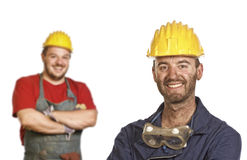 Strong handyman background Royalty Free Stock Photography