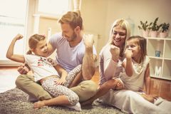 We are a strong and happy family. stock images