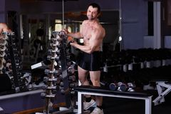 Strong healthy adult ripped man with big muscles choosing dumbbe. Lls for workout in gym. Fitness, sport, training, motivation and lifestyle concept royalty free stock photo