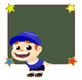A Strong and Healthy Boy Carrying Blackboard Royalty Free Stock Photos