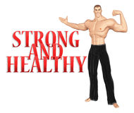 Strong Healthy Man Welcoming Pose Illustration Royalty Free Stock Photo