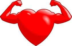 Strong Heart. Illustration of a heart showing how strong and health it is by showing off its muscles Royalty Free Stock Photography