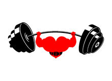 Strong heart and barbell. Powerful love athlete. Cardio training Stock Image