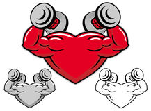Strong heart with dumbbells Royalty Free Stock Image