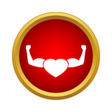 Strong heart icon in simple style Royalty Free Stock Photos