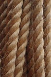 Strong, Hemp rope, cord or line, with rough fiber, made of jute. Used by sailing and climbing. Strong hemp or jute rope, line, or natural cord, with a rough Stock Photos