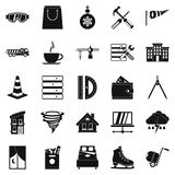 Strong house icons set, simple style. Strong house icons set. Simple set of 25 strong house vector icons for web isolated on white background royalty free illustration