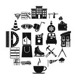 Strong house icons set, simple style. Strong house icons set. Simple set of 25 strong house vector icons for web isolated on white background stock illustration