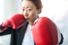 Strong and independent businesswoman in a business suit and boxing gloves looking menacingly at the camera. stock photos