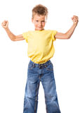 Strong kid showing the muscles Royalty Free Stock Photography