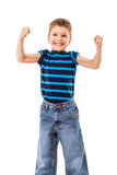 Strong kid showing the muscles Stock Photography
