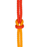 Strong knot. Tied by a rope isolated on a white background Stock Photos