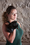 Strong Lady Holds Kettlebell Stock Image
